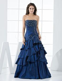 Royal Blue Taffeta Strapless Floor Length Prom Dress