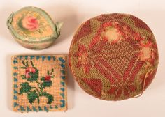 Lot: Two Antique Sewing Pin Cushions and a Thimble Case., Lot Number: 0785, Starting Bid: $20, Auctioneer: Conestoga Auction Company Division of Hess Auction Group, Auction: NOVEMBER 15 -  CATALOG AUCTION, Date: November 15th, 2014 UTC