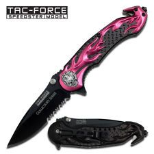 TAC-FORCE Pink Chopper Flaming Skull Spring Assist Assisted Pocket Knife #736PK