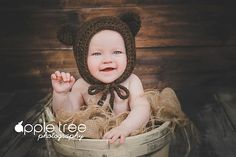 Ravelry: Woodland Fox or Bear Baby Bonnet pattern by Crochet by Jennifer
