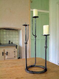 Forged blacksmith triple candlestick