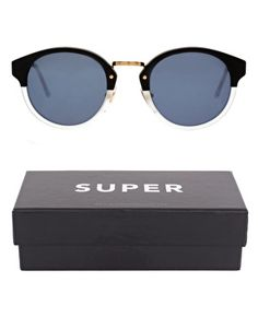 Super by RetroSuperFuture Black And Matt Crystal Color Round Frame Sunglasses