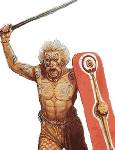 Celtic swordsman with body paint and lime-washed hair. It has been suggested that the lime washing was somehow a sacred rite of Epona. Nevertheless, it adds a fearsome aspect to the warrior.