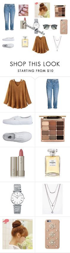 """""""Biege with a hint of Casual"""" by artyblue06 ❤ liked on Polyvore featuring WithChic, Vans, Stila, Ilia, Chanel, Longines, Boohoo, Pin Show, MICHAEL Michael Kors and Ray-Ban"""