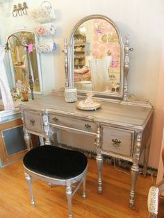 silver distressed vanity and bench glam shabby chic antique dressing make up table. $995.00, via Etsy.