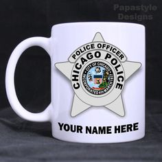Chicago Police Badge Personalized 11oz Coffee Mugs Made in the USA. #Handmade