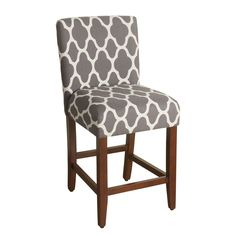 $128.49 each - Overstock.com  This stool features a woven geometric quatrefoil pattern in cream white on a warm gray background.  The modern upholstered seat and back that will work with any home de'cor.