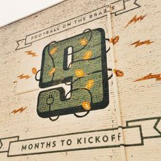 9 months to kickoff! This mural on a wall in downtown Waco is updated each month with a countdown to the opening of #Baylor Stadium in August 2014.