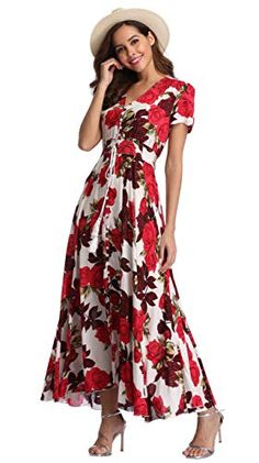 VintageClothing Women's Floral Maxi Dresses Boho Button Up Split Beach Party Dress - Prom Dresses Design Boho Floral Maxi Dress, Floral Dresses, Cute Summer Outfits, Casual Summer, Trendy Outfits, Maxi Dresses, Fashion Dresses, New Party Dress, Affordable Dresses