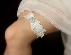 b1ba569386f Items similar to Ivory Lace Wedding Garter