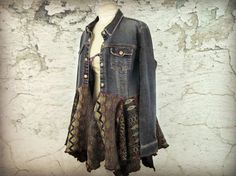 XL Denim Bohemian Gypsy Sweater Coat// Upcycled by emmevielle