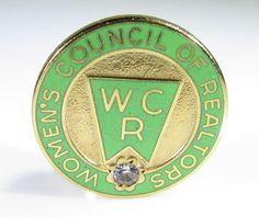 Gold Tone Pin with Womens Council of Realtors Logo and Clear Stone