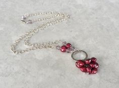 Burgandy Freshwater Pearl Necklace, Cluster Necklace, Pearl and Silver Chain Necklace, Silver Jewelry, Red Necklace, A Perfect Gem,