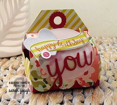 Treat container by Sarah Gough. Reverse Confetti stamp sets: Beautiful Banners and Dream in Color.  Confetti Cuts: Beautiful Banners, Tag Me, Too, Circles 'n Scallops, and Double Edge Scallop Border. Handmade birthday gift.