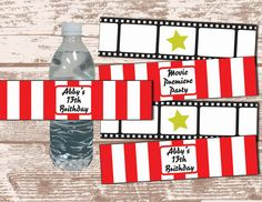 PRINTABLE PDF Hollywood Movie Party Theme Water Bottle Label Wrappers. $8.00, via Etsy.