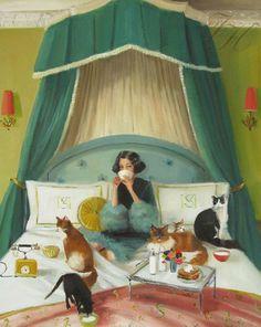 "Mademoiselle Mink Breakfasts In Bed"": Janet Hill. Original oil."