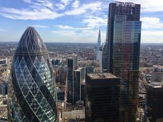 View from Heron Tower of the Gherkin and the Cheesegrater.