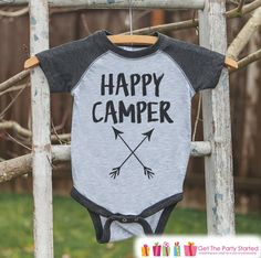 Kid's Happy Camper Arrows Outfit - Grey Raglan Shirt, Onepiece - Kids Baseball Tee - Camp Shirt Baby, Toddler, or Youth - Adventure Clothing