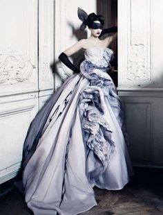 Dior Haute couture - awesome color.  Also really like the blindfold with black long gloves.  lol