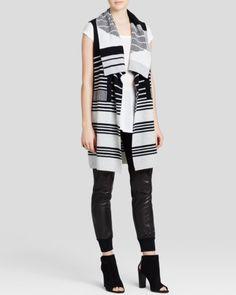 Vince Sweater - Graphic Stripe Drape Vest   Bloomingdales's