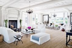 white + sea grass + ceiling #living #sitting -- that is one large-ass, open, airy space. i love it!