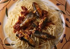 The 99 Cent Chef: Sardines in Tomato Sauce with Olive Oil over Pasta
