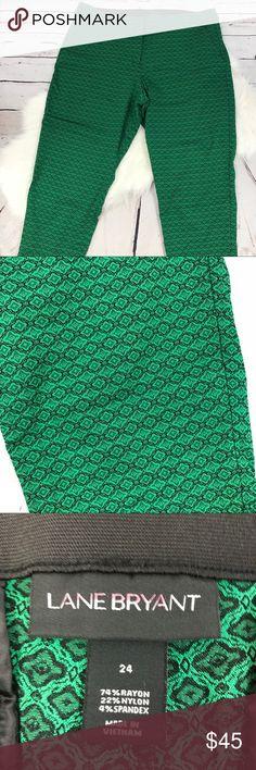 CCO Lane Bryant size 24 green printed Capri pants Lane Bryant size 24 green printed Capri pants Beautiful print Elastic waistband with zipper, clasp, and button closure Front pockets  B135 Lane Bryant Pants Capris