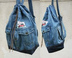 denim backpack blue acid wash repurposed jean jacket big bucket drawstring bag vintage 80s 90s grunge backpack hipster upcycled recycled (400.00 ILS) by UpcycledDenimShop