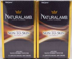 Condoms and Contraceptives: 20 Trojan Naturalamb Luxury Lubricated Skin-To-Skin Condoms 2-Boxex Of 10 = 20 BUY IT NOW ONLY: $36.85