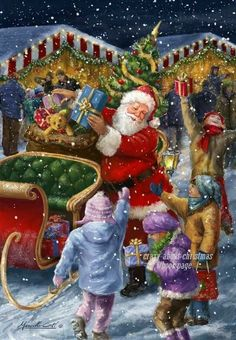 Father Christmas and children- Father Christmas and children - Christmas Scenes, Father Christmas, Santa Christmas, Christmas Pictures, Christmas Greetings, Merry Christmas Photos, Christmas Quotes, Christmas Ideas, Christmas Decorations