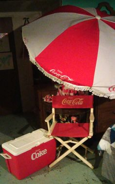 Coca Cola Patio / Beach Umbrella 6 Panel 6.5 Ft. Director Chair U0026 Igloo  Cooler