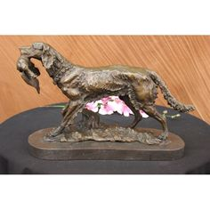ON SALE !!! Bronze Sculpture Shaggy Dog Captures A Bird Marble Base Figurine By Barye Decor...A Shaggy Dog Walks Proudly With A Bird Capture In His Mouth. He Has Successfully Hunted The Bird. It Hangs From His Mouth. The Dogs Fur Is Wild And Frayed In Different Directions. This Dog Is Comfortable In Nature. This Sculpture Is Perfect For Lovers Of Dogs And The Outdoors. It Was Crafted Using The Lost Wax Method. It Rests On A Black Marble Base. It Is Signed Barye.