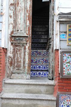Tile stairs... a great starting point for an eclectic interior, this is from an old home in Instanbul
