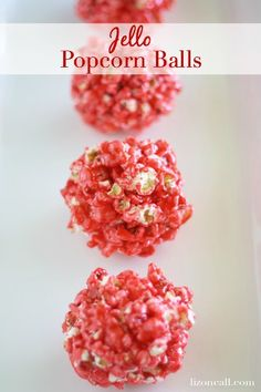 These jello popcorn balls are super fun to make with the kids and they taste yummy too!  Great summer activity. Marshmallow Popcorn, Jello Popcorn Balls Recipe, Flavored Popcorn, Popcorn Recipes, Dessert Recipes, Popcorn Bowl, Rainbow Popcorn, Pink Popcorn, Candy Popcorn