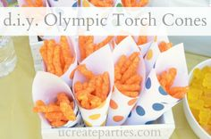 Olympic torch cones paper cone, olymp parti, parties, olymp torch, torch cone, art activities, 2012 olymp, parti idea, snack cone