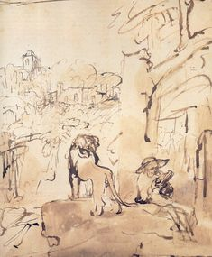 Jerome reading in a landscape - Rembrandt, Hamerszoon van Rijn we deliver as art print on canvas, poster, plate or finest hand made paper. Lion Drawing, Drawing Sketches, Storyboard, Leiden, Rembrandt Drawings, Rembrandt Etchings, St Jerome, Pen And Wash, Dutch Golden Age