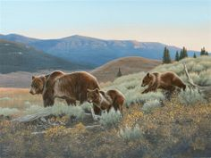 KEEPING UP - grizzly bear painting by Al Agnew