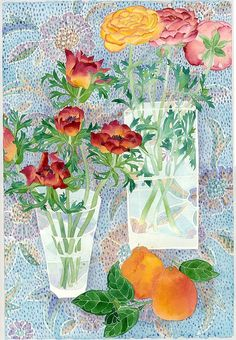 Anenomes and ranunculus  Watercolour and pencil on paper  39cm x 57cm Sydney 2011