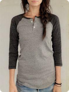 Women's Long Sleeve | 3/4-Sleeve Raglan Henley | Alternative Apparel Baseball tees!!: