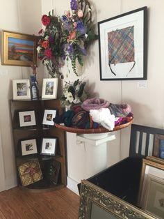 "Framed handwoven Alpha Omega Tile. For sale at the Foley Art Center, Foley, AL. Weaving is 11"" x 11"" within the frame."
