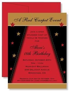 12 Custom Personalized Star Studded Red Carpet Birthday Party Invitations | eBay