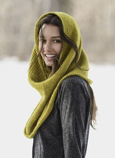 The Trimont Snood can be worn three ways; as a cowl, a capelet or a hood. Knit in the round from the bottom up in lustrous Woolstok, with decreases providing a touch of shaping, so it's wider at the shoulders and narrower at the top. The seed stitch panel adds visual interest. Pattern No. 201613