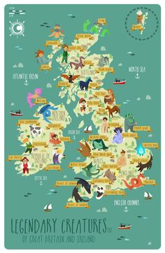 Legendary creatures of Great Britain and Ireland - Visiten Karten 2020 Map Of Britain, Great Britain, Mythological Creatures, Mythical Creatures, Europa Tour, Places To Travel, Places To Go, Illustration Inspiration, Flat Illustration