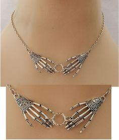 Silver Skeleton Hands Strand Necklace Jewelry Handmade NEW Fashion Accessories