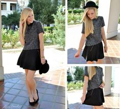 tweed top and flared mini skirt