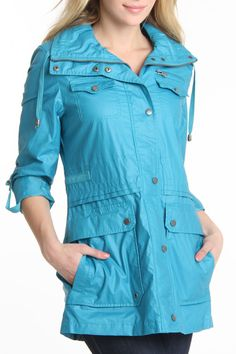 Buffalo David Bitton Anorak Coat in Turquoise