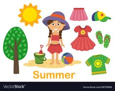 Isolated summer set with girl tree and clothes vector image on VectorStock Alphabet Activities, Preschool Activities, Seasons Lessons, Seasons Worksheets, Camping Crafts For Kids, Images Of Summer, Dinosaurs Preschool, Paper Dolls Printable, Summer Set