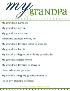 Fathers Day Free Printable Questionnaire for Grandpa!  {www.elliebeandesign.com}