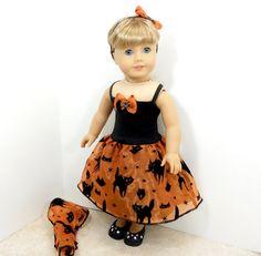 american girl doll dress halloween black cats on by MegOrisDolls, $26.50