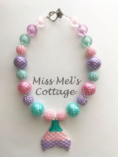 Your place to buy and sell all things handmade Chunky Bead Necklaces, Chunky Beads, Kids Jewelry, Jewelry Making, Jewelry Ideas, Callie And Marie, Mermaid Jewelry, Bling Shoes, Polymer Clay Pendant